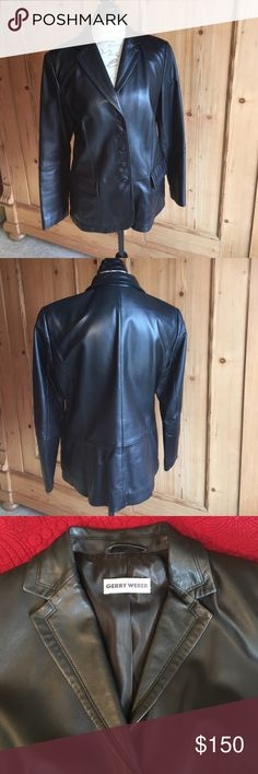 Gerry Weber women's leather jacket Black leather jacket from Europe. Worn twice. Like new. Fully lined. Buttery soft leather. Size US 12 or Eu size 42 Gerry Weber Jackets & Coats