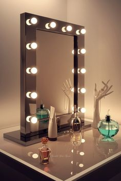Black High Gloss Free Standing Hollywood Mirror with CW or WW LED Bulb and Optional Audio - Sparkle Your Space
