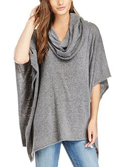 A fashion staple for the fall season is our Cowl Neck Poncho. This knit outerwear features a hood. <b>Stylist Tip</b>: A fitted trouser will balance your figure. Loose Sweater, Grey Sweater, Capes For Women, Clothes For Women, Sale Clothes, Long Sweaters For Women, Knitted Poncho, Casual, Queen