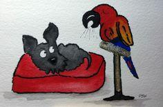 Original Watercolour painting 6 X 4 Archy The Scottie Dog Noisy Bird | eBay