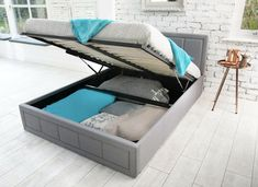 Modern Storage Ottoman Gas liftFabric Double And King Size Bed - Mattress will form to your natural body shape and support your body ensuring you have a great night's sleep. Mattress is hypoallergenic and anti dust mite, to help allergy sufferers. King Size Storage Bed, Lift Storage Bed, Ottoman Storage Bed, Ottoman Bed, Cheap Mattress, Foam Mattress, Lift Up Bed, Double Bed With Storage, Bed Slats