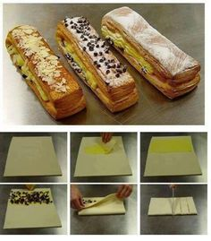 how to make puff pastry Breakfast Pastries, Sweet Pastries, Puff And Pie, Puff Pastry Recipes, French Desserts, Weird Food, Pastry Cake, Arabic Food, Sweet Bread