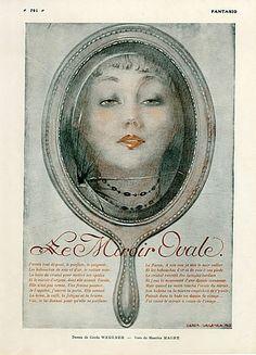Gerda Wegener 1916 The Oval Mirror, Portrait, Maurice Magre Poem