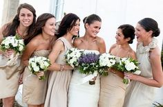 taupe bridesmaids dresses & pretty flowers