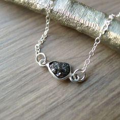 Rough Diamond Necklace Genuine Diamond Genuine by SilverMooseArts