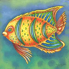 Funky Fish 10 PRINT by BijousWhimsy on Etsy