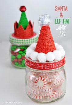 Can use baby food jars :) DIY Holiday Candy Jars Homemade Gift Idea Homemade Christmas, Diy Christmas Gifts, Christmas Projects, Holiday Crafts, Christmas Holidays, Christmas Crafts For Gifts For Adults, Christmas Cactus, Christmas Quotes, Christmas Ideas To Make