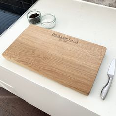 Personalised Family Name Chopping Board by Urban Twist, the perfect gift for Explore more unique gifts in our curated marketplace. Oak Chopping Board, Wooden Chopping Boards, Personalised Tops, On The High Street, Old Wood, New Shop, Family Gifts, Special Gifts, How To Memorize Things