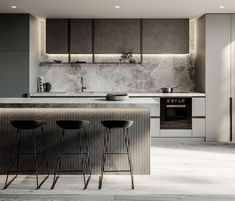 Fabulous Modern Kitchen Sets on Simplicity , Efficiency and Elegance Tips & … - luxury kitchen Luxury Kitchen Design, Kitchen Room Design, Kitchen Sets, Home Decor Kitchen, Interior Design Kitchen, Kitchen Furniture, New Kitchen, Home Kitchens, Kitchen Designs