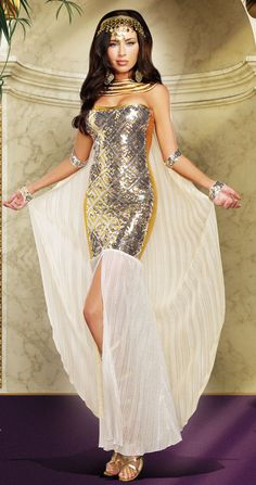 9188f073bd Our Egyptian Goddess Nefertiti costume includes gold silver sequin front  dress with gold foil chiffon
