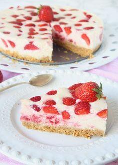 Himmelsk jordgubbscheesecake
