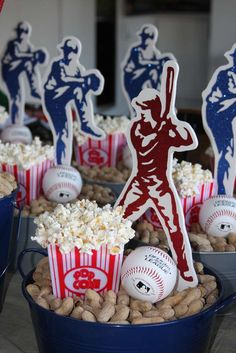 Popcorn and peanut favors at a baseball themed party! See more party planning ideas at CatchMyParty.com!