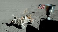 Apollo 17's lunar rover, flag and part of the lunar module in this view taken out the module's window. (Credit: NASA)