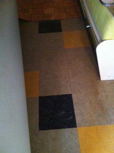 cool old lino tile floor rediscovered in a vintage caravan. Nice!  .....vintage caravans proboards.