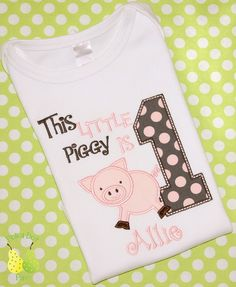 THIS LITTLE PIG Piglet Piggy Birthday personalized by PolkaDotPair, $24.00