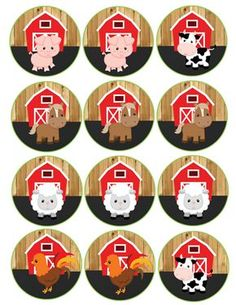 barnwoord farm animals cupcake toppers – My CMS Farm Animal Cupcakes, Farm Animal Party, Farm Animal Birthday, Farm Birthday, Farm Party, Birthday Party Themes, Farm Cupcake Toppers, Red Tractor, Farm Theme