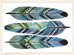 Feather Art - Watercolor Painting - Archival Print - Earth Feathers, via Etsy.