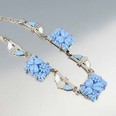 Enamel Molded Glass Art Deco Necklace Silver Blue by boylerpf