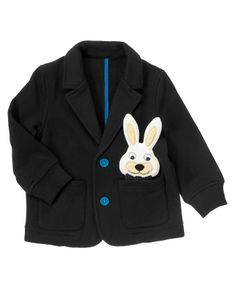 Layer on the dapper style with a soft and cozy fleece blazer with colorful buttons and a bunny peeking from the pocket.
