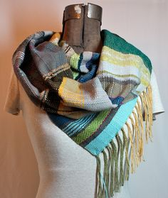 Lotta  Handwoven Mustard Gray and Olive Scarf // by pidgepidge