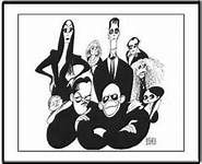 Al Hirschfeld's The Addams Family is a Limited Edition Lithograph, hand signed by Al Hirschfeld. We at the Margo Feiden Galleries Ltd are proud to say that we represented Al Hirschfeld and his work for 50 years. Addams Family Hand, Adams Family, Family Tv, The New Yorker, Cartoon Familie, Raul Julia, Charles Addams, Anjelica Huston, Retro Vintage