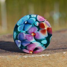 Tropical Garden - K O Lampwork - 1 Floral Focal Bead by koregon on Etsy
