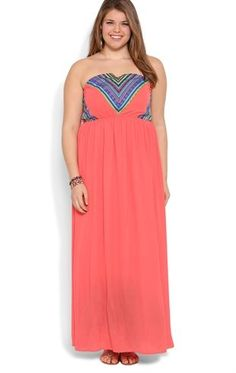 Deb Shops Plus Size Strapless #Maxi #Dress with Embroidered Bodice $30.03