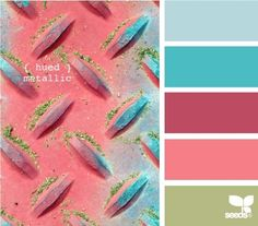 """hued metallic"" is the name of this palette on Design Seeds. I don't love that purpley color so much, but the others are favorites of mine! Scheme Color, Colour Pallette, Color Palate, Colour Schemes, Color Combos, Color Patterns, Paleta Pantone, Color Concept, Palette Design"