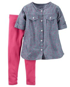 Toddler Girl 2-Piece Chambray Top & Legging Set | Carters.com
