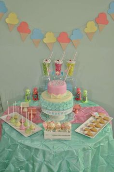 Dessert table at an ice cream birthday party! See more party planning ideas at CatchMyParty.com!