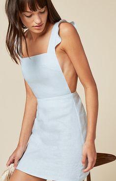 Reformation powder blue open back linen mini dress