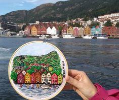 Bordado de Bryggen, puerto de Bergen