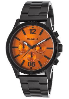 Caravelle NY Watches Men's Chronograph Black IP SS Orange Dial Black IP SS 45A108,    #CaravelleNY,    #45A108,    #Casual
