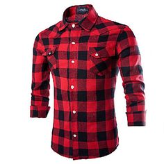 Maimi+Men's+Long+Sleeve+Shirt+,+Cotton+Blend+Casual/Work/Formal+Plaids+&+Checks+–+USD+$+13.99
