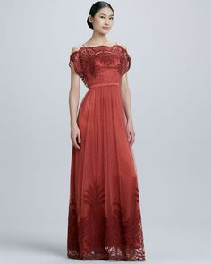 Catherine Deane - Off-the-Shoulder Tulle & Lace Gown