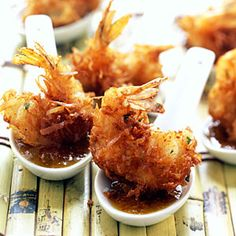 Summer Party Menus | Start with: Coconut Shrimp with Maui Mustard     A variety of white wines (and even beer) will be great with this melt-in-your-mouth appetizer, but specifically try a Pinot Blanc, Chenin Blanc, Sauvignon Blanc, Chardonnay, or Columbard.
