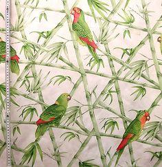 edle Stoffe online kaufen: Dekostoff Gardinen Stoff Papagei grün rot weiß 280 cm breit