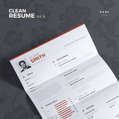 Clean Resume Vol. 8  Word and Indesign by #TheResumeCreator on Etsy #Lebenslauf #Cv #CurriculumVitae #Resume