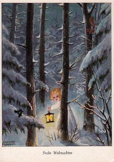 AK, HANNES PETERSEN, Weihnachten, Engelchen mit Laterne unterwegs im Winterwald*