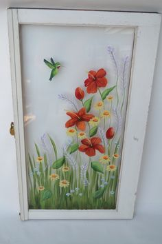 Old Windows/Hand Painted Windows/ Red Hibiscus/Hummingbird/Shabby Chic/ Window Decor/ Window Art/Yellow Daisies/Floral Window/Vintage Window Old Windows Painted, Painted Window Panes, Window Pane Art, Old Window Decor, Painting On Glass Windows, Old Window Art, Old Window Screens, Art Colibri, Old Window Projects