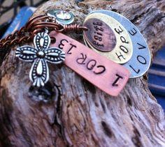 Faith Hope Love  1 Corinthians 13 necklace by MamaDramaJewelry, $31.00