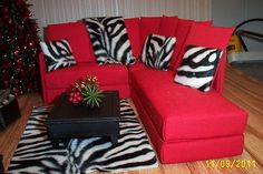 Handcrafted Furniture for Barbie/Ken 3 Pc.Red Sectional Sofa Zebra Pillows 1:6th Scale