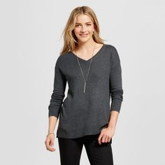 Women's V-Neck Luxe Pullover - Merona Charcoal Heather Xxl