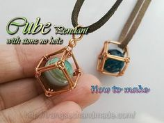 Cube pendant - How to wrapping big stone without holes 363 - YouTube