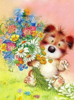 Lisi Martin Cute Animal Illustration, Graphic Illustration, Cute Birthday Wishes, Animated Clipart, Cute Animals Images, Spanish Artists, Vintage Dog, Animal Paintings, Softies