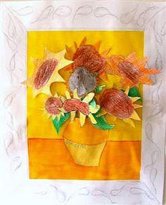 Van Gogh's sunflowers - PDF of entire lesson Art Van, Van Gogh Art, Kindergarten Art, Preschool Art, Kandinsky, Middle School Art, Art Lesson Plans, Teaching Art, Artist Art