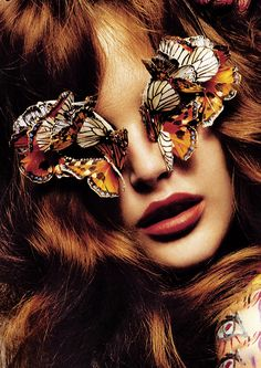 Help! Butterflies are eating my EYES!! (Catherine McNeil/Vogue Paris December 2007)