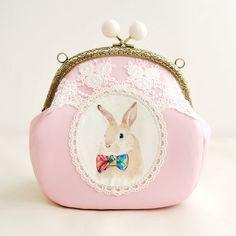 sweet lace rabbit chain girls Metal frame purse/coin purse handbag Pouch clutch,cross body bag