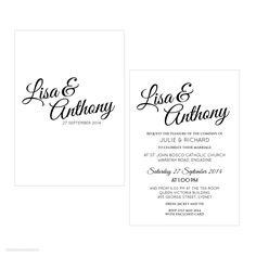 Simplicity A6 Wedding Invitation