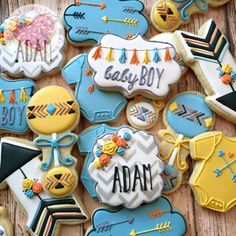 Baby shower cookies, Aztec cookies, baby cookies, I heart Sprinkles cookies